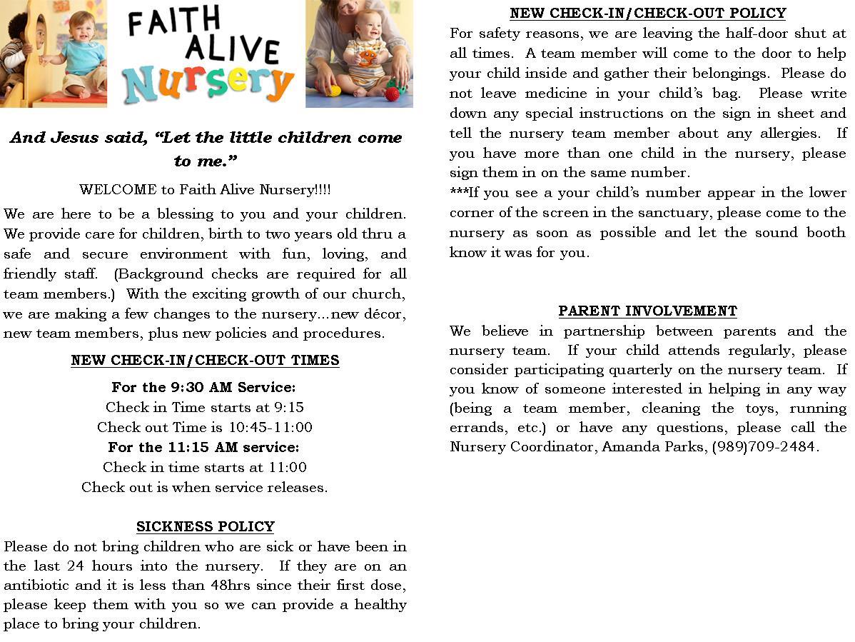 Nursery policy